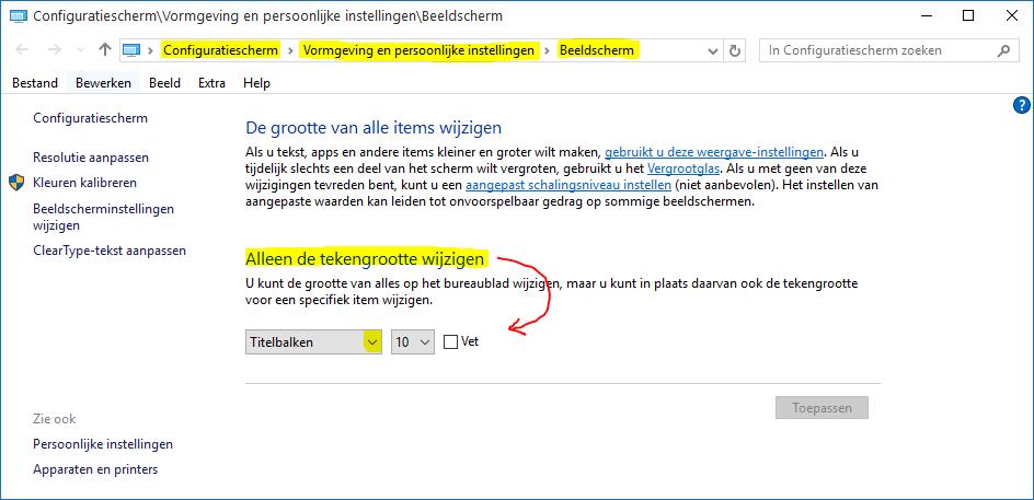 De grootte van het lettertype in Windows 10 aanpassen