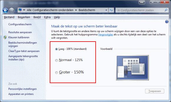 De grootte van het lettertype in Windows 7 aanpassen