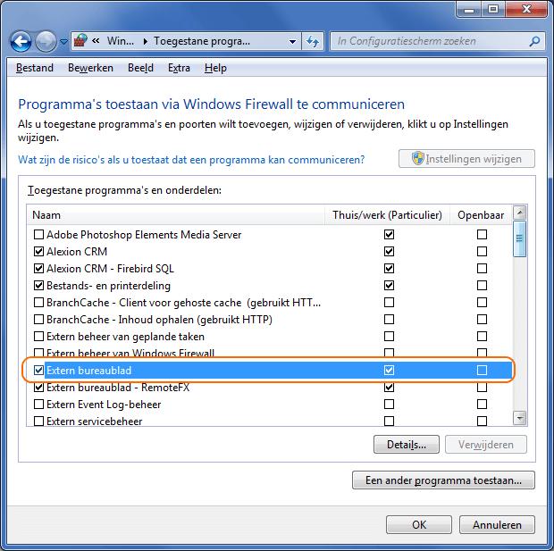 Toegestane programma's voor Windows Firewall Extern Bureaublad
