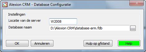 Oude databaseinstellingen voor Alexion CRM