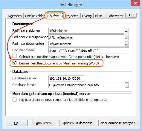 Instellingen voor het opslaan van het mailmergedocument
