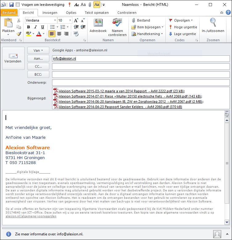 E-mail met bijlagen