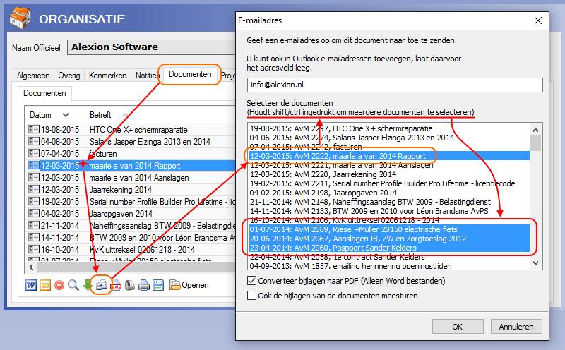 Meerdere documenten versturen via e-mail via Ctrl-toets