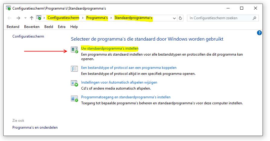 Standaardprogramma's configuratiescherm