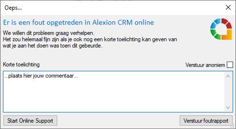 Het nieuwe foutmeldingsscherm van Alexion CRM