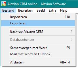 Alexion CRM - menu Bestand - Exporteren