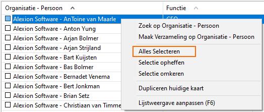 Alexion CRM - Lijstweergave Contextmenu Alles Selecteren
