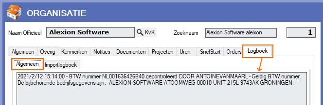 Alexion CRM - VIES check - BTW nummer goedgekeurd - in logboek vastgelegd