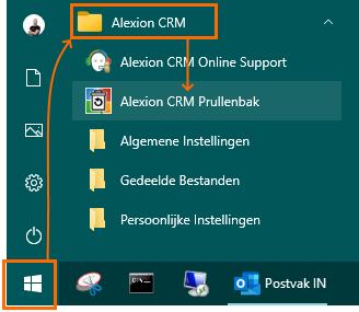 Alexion CRM - Windows Startmenu - Alexion CRM Prullenbak