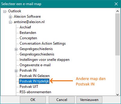 Alexion CRM - Andere map in plaats van Postvak IN