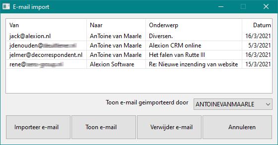 Alexion CRM - E-mail importscherm