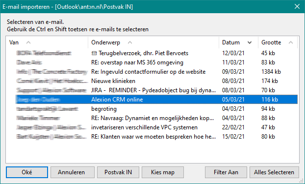 Alexion CRM - Outlook inbox ingelezen