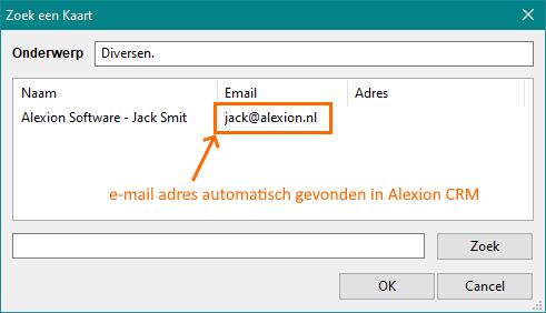 Alexion CRM - e-mail import zoekscherm (adres gevonden)