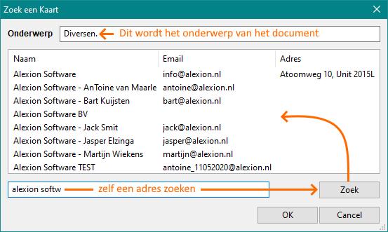 Alexion CRM - e-mail import zoekscherm (adres zelf zoeken)