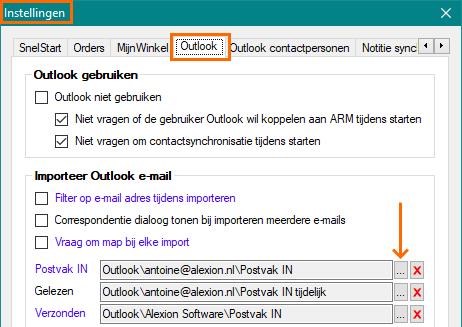 Alexion CRM - standaard e-mailmap aanpassen