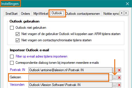 Alexion CRM - verplaatsen e-mailmap aanpassen