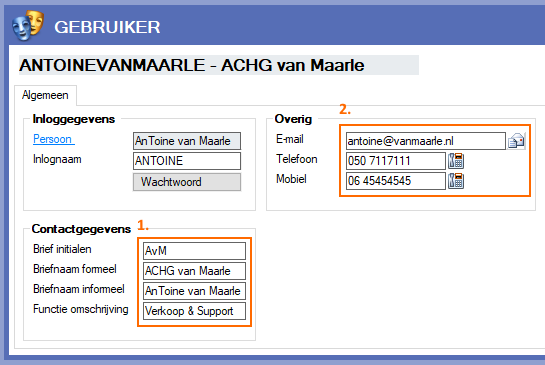Alexion CRM - Gebruikers gegevens invullen