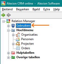 Alexion CRM - Gebruikers in de Boomweergave