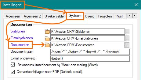 Alexion CRM Instellingen Documentpad