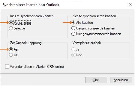 Alexion CRM Outlook synchroniseren