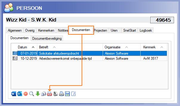 Alexion CRM tabblad Documenten converteren naar PDF