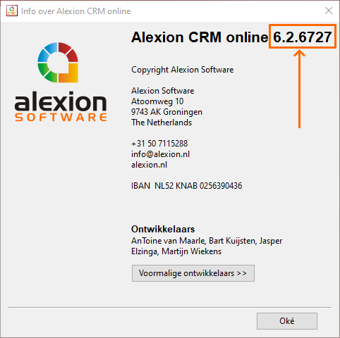Welke versie van Alexion CRM
