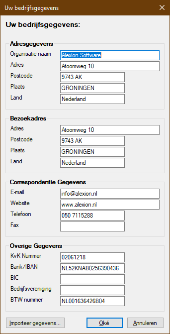 Bedrijfsgegevens scherm in Alexion CRM