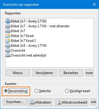 Printscherm - Verzameling kiezen