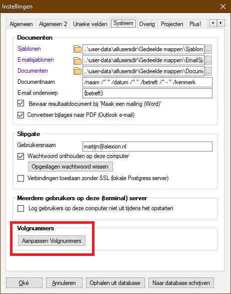 Volgnummers aanpassen via Instellingen - vanaf versie 6.2