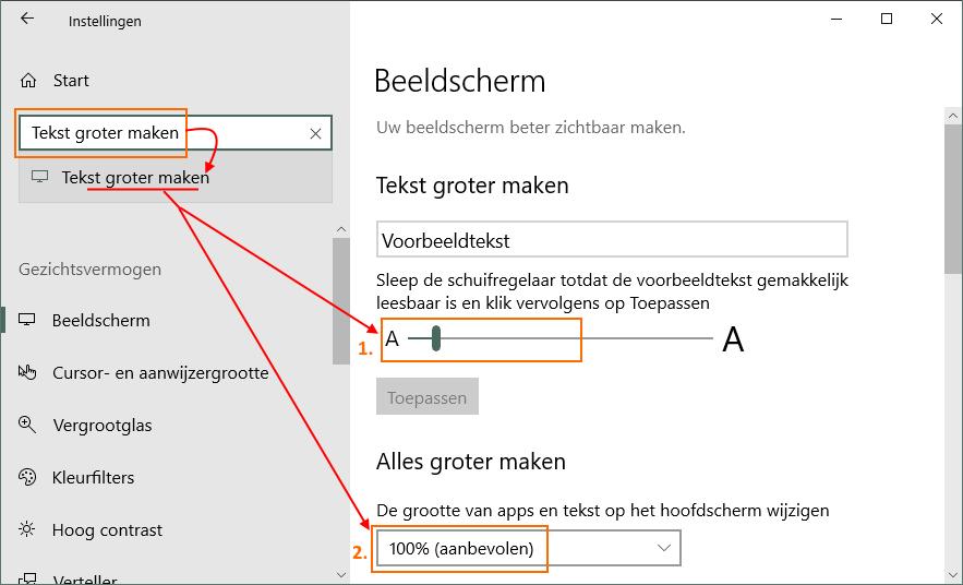 Windows 10 tekst groter maken